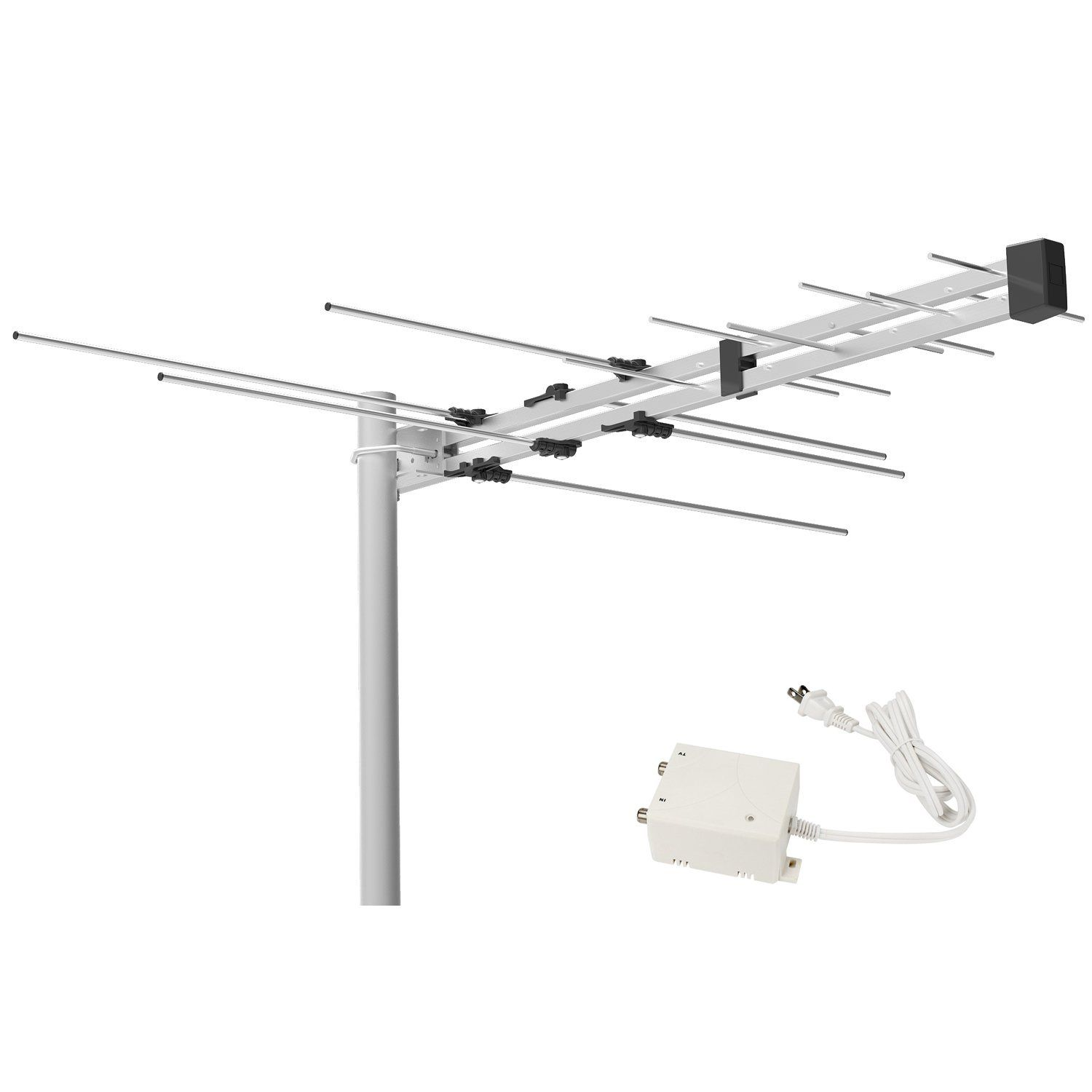 1byone Digital Amplified Outdoor Attic Hdtv Antenna 70 Miles Range With Power Supply Box For Vhf And Uhf Band Hdtv Antenna Digital Antenna Antenna