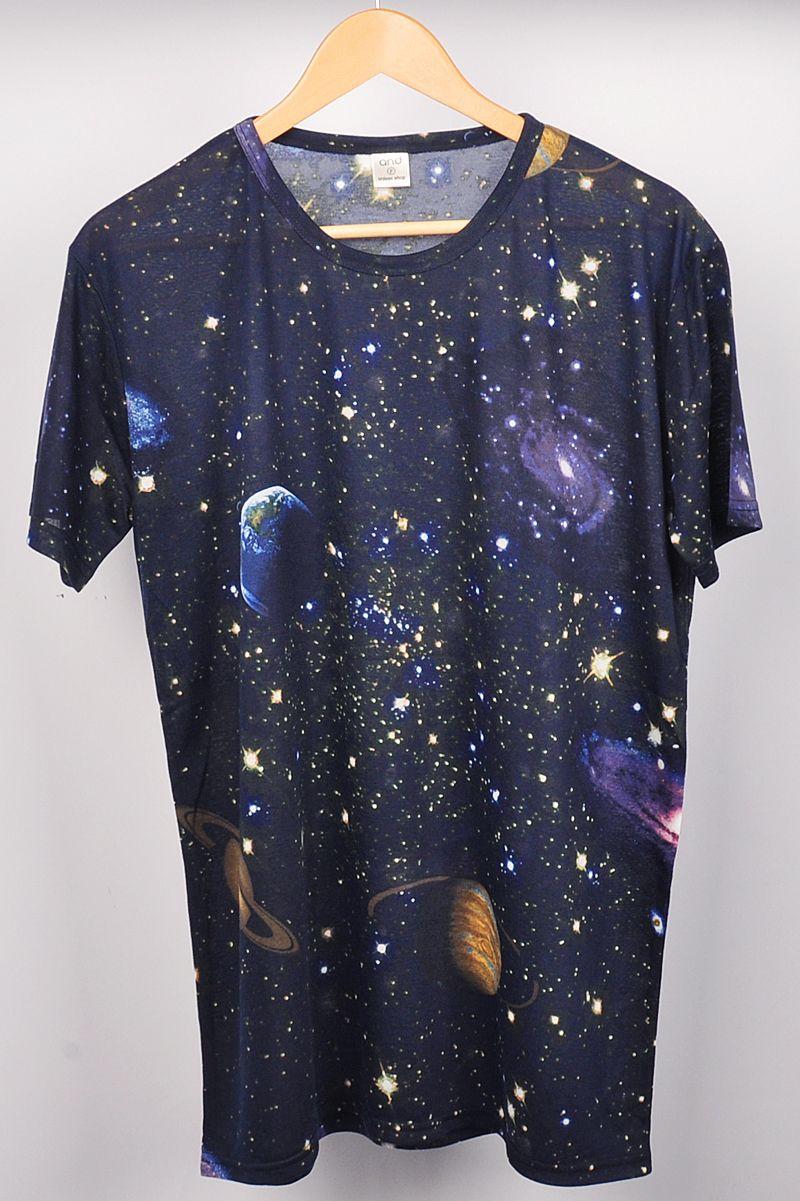 Design t shirt galaxy - Nyfashioncity Blue Mens Galaxy Space T Shirts Hip Hop Tee Punk Short