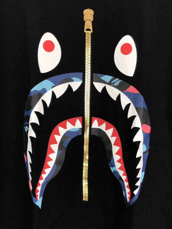 Bape Zipper Shark Face TShirt Bape shark wallpaper