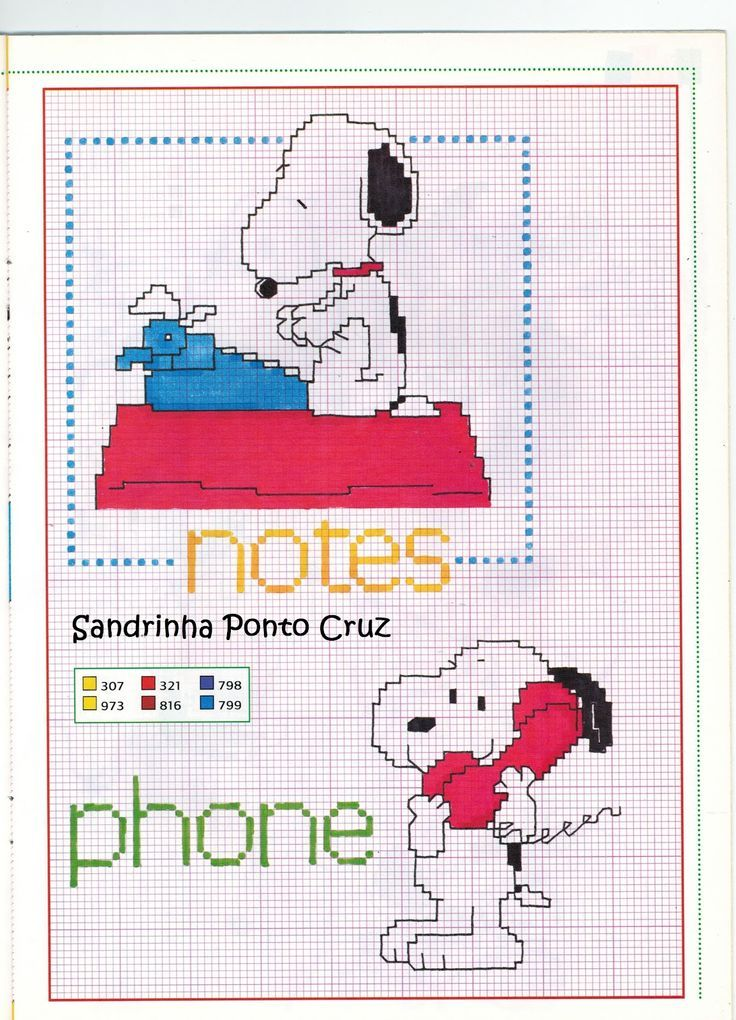 needlepoint snoopy with typewriter | Sandrinha Ponto Cruz. lots of very cute charts.