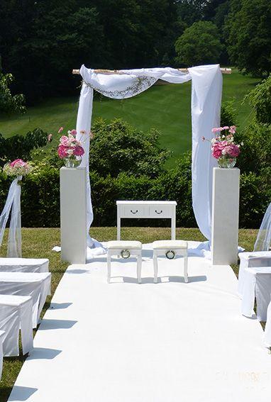 Freie Trauung Outdoor Wedding Mit Bogen Stoffbogen Mit Ast Dazu