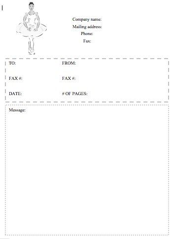 Whether you own a dance studio or just like ballerinas, this - free downloadable fax cover sheet