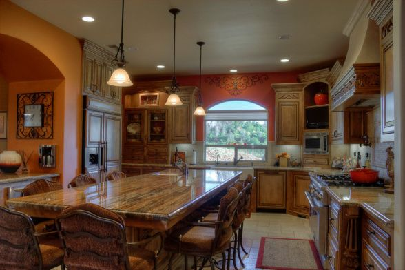 TUSCAN KITCHEN, This Tuscan Kitchen And Dining Space Features Alder Wood  Cabintry, Beautiful Granite Counter Tops, And A Bold Yet Sophistica.