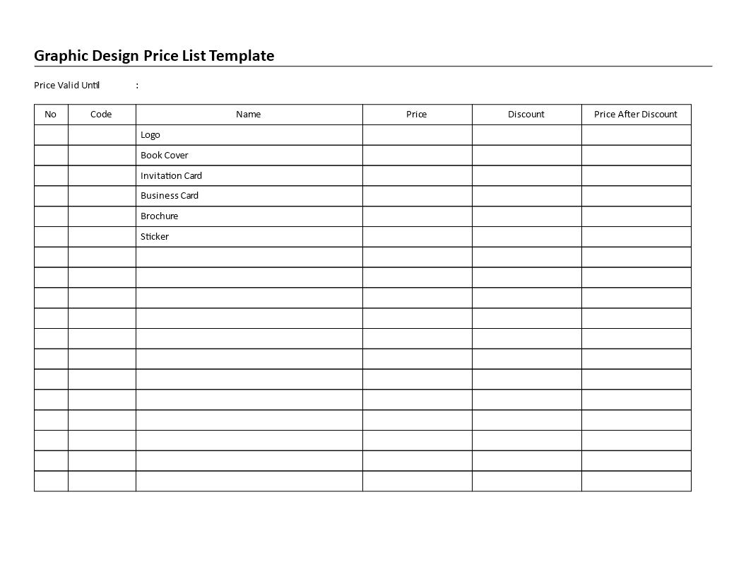 word template price list