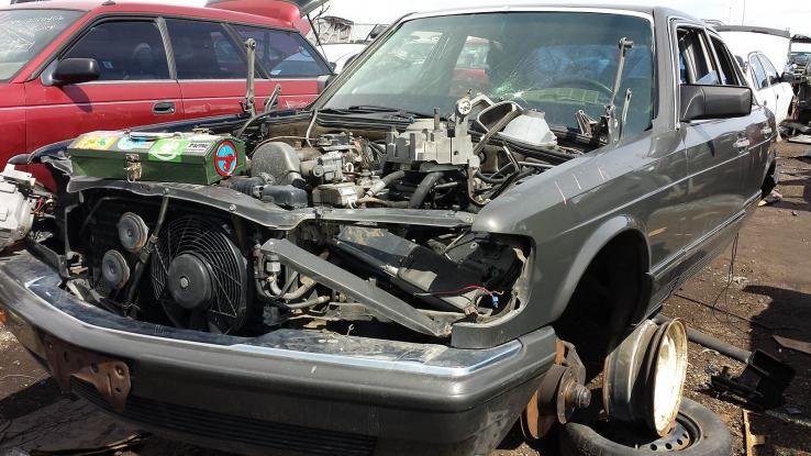 Mercedes Benz W126 Radiator Cooling Fan In Junkyard