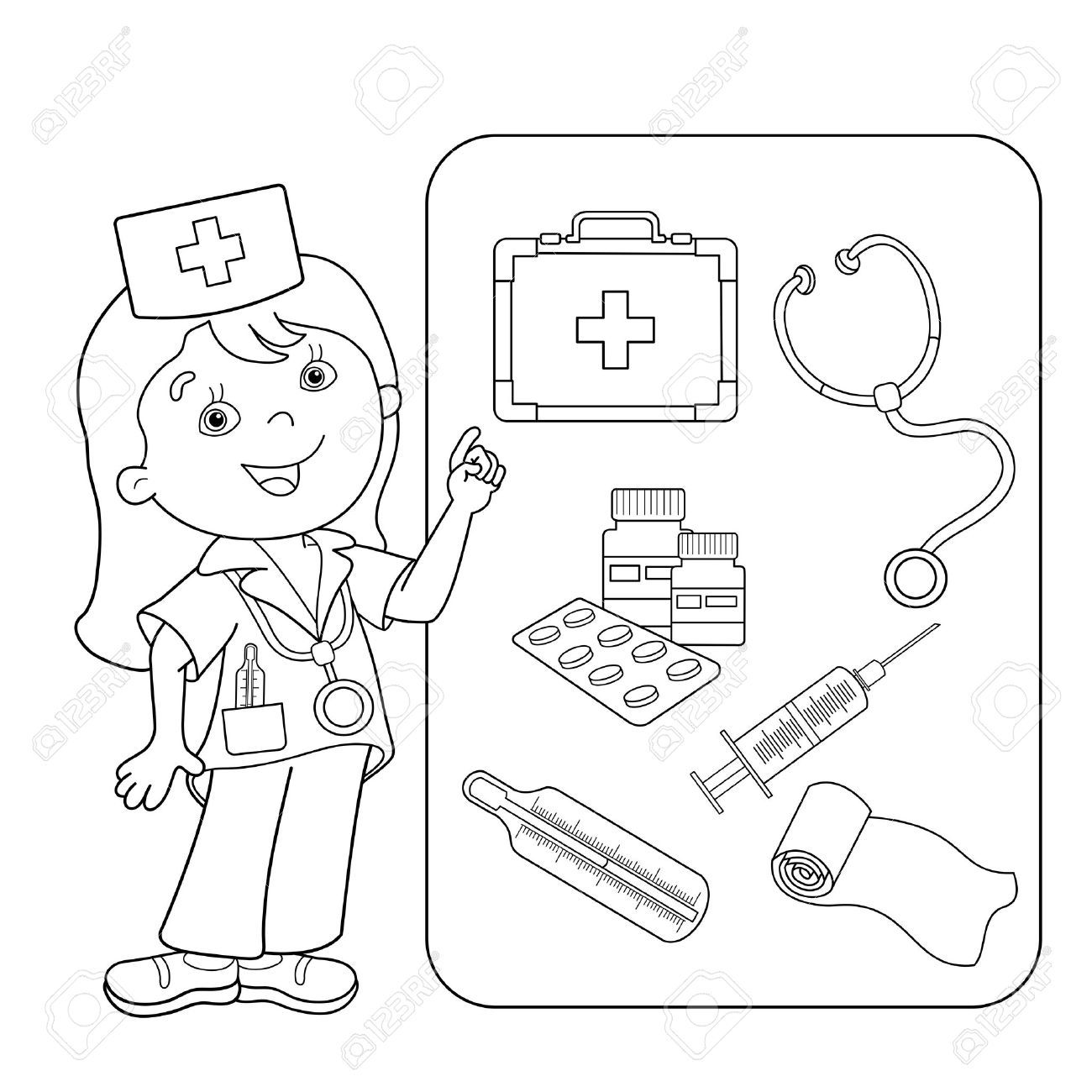 First Aid Kit Coloring Pages To Print First Aid For Kids Coloring For Kids Coloring Books