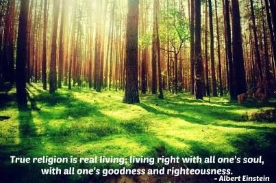 True religion is real living; living right with all one's soul, with all one's goodness and righteousness. - Albert Einstein