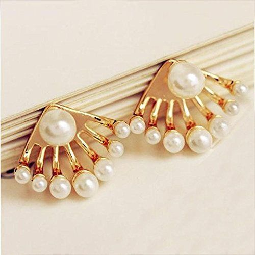 TR.OD 1Pair Women Lovely Crystal Earrings Pearl Ear Stud Front and Back Earbob R557ODP