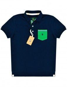 236e64317 Camisa Polo Masculina Com Pate e Bolso Colorido (Azul Marinho ...