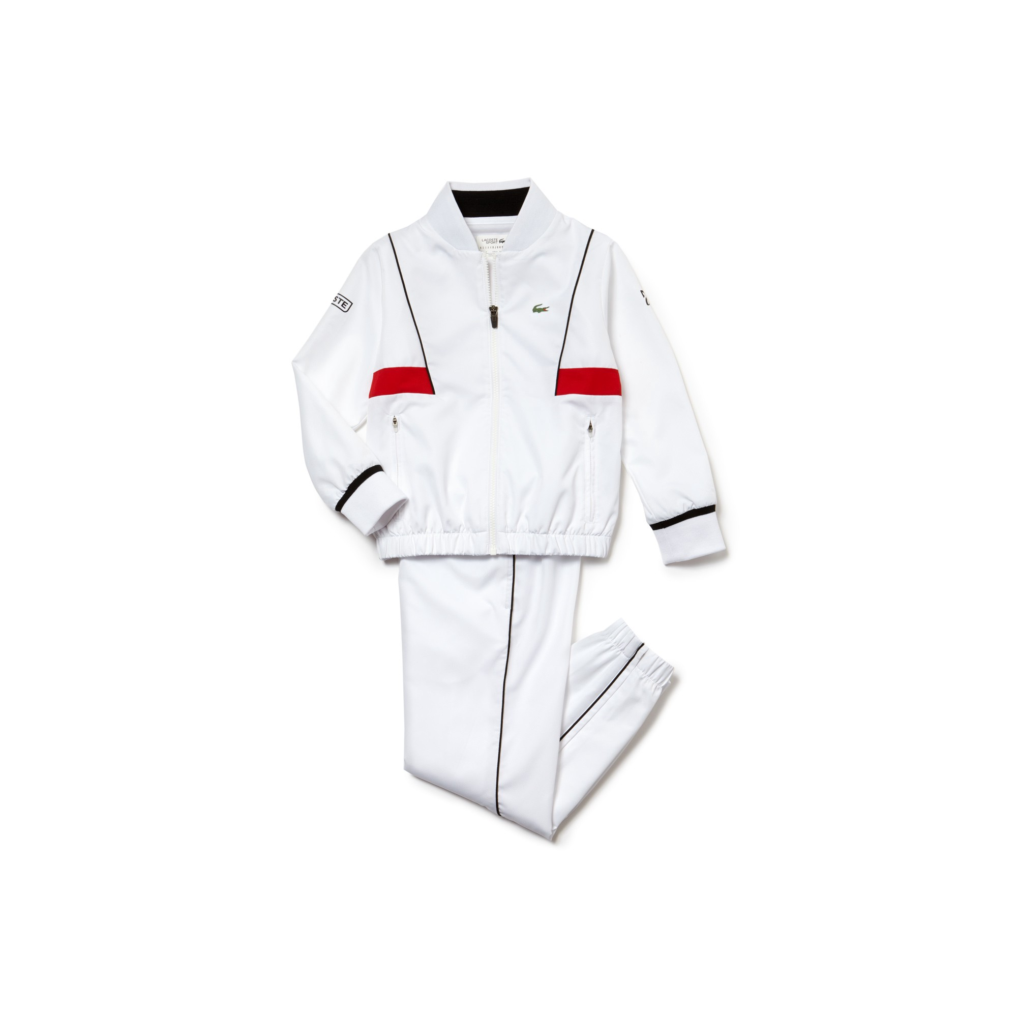 ed96a0656ef295 Lacoste Boys  Sport Tracksuit - Novak Djokovic Collection White Black-Red 6  Years