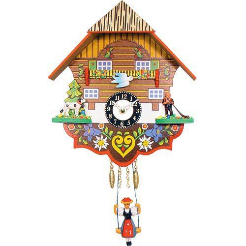 quartz dog and herder cuckoo clock this charming black forest quartz dog and herder cuckoo clock is handpainted in traditional germanic
