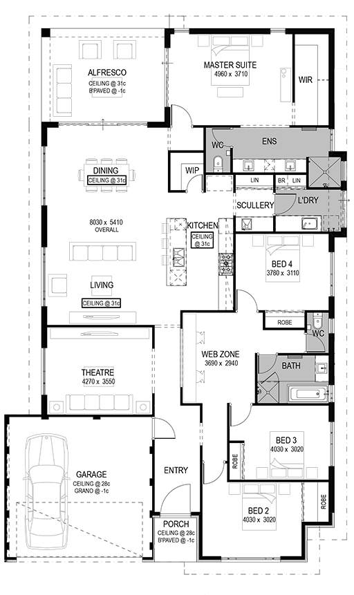 The Lucca Floorplan By National Homes Flip Dining And Living Room Space Theater Into Office Library Floor Plans House Plans House Blueprints