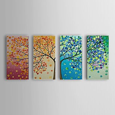 käsin maalattu öljymaalaus kasvitieteellinen puu ja defoliation venytetty runko sarja 4 1307-bo0157 - EUR € 114.67