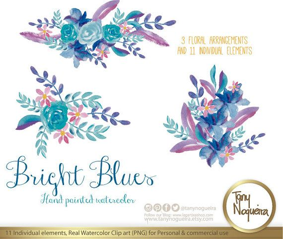 Bright Blues Watercolor Floral Wedding Elements By TanyNogueira Stop My Etsy Shop TeoldDesign