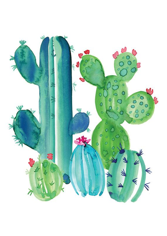 Cacti Love A6 Greeting Card by MailedWithLoveAus on Etsy | acuarelas ...