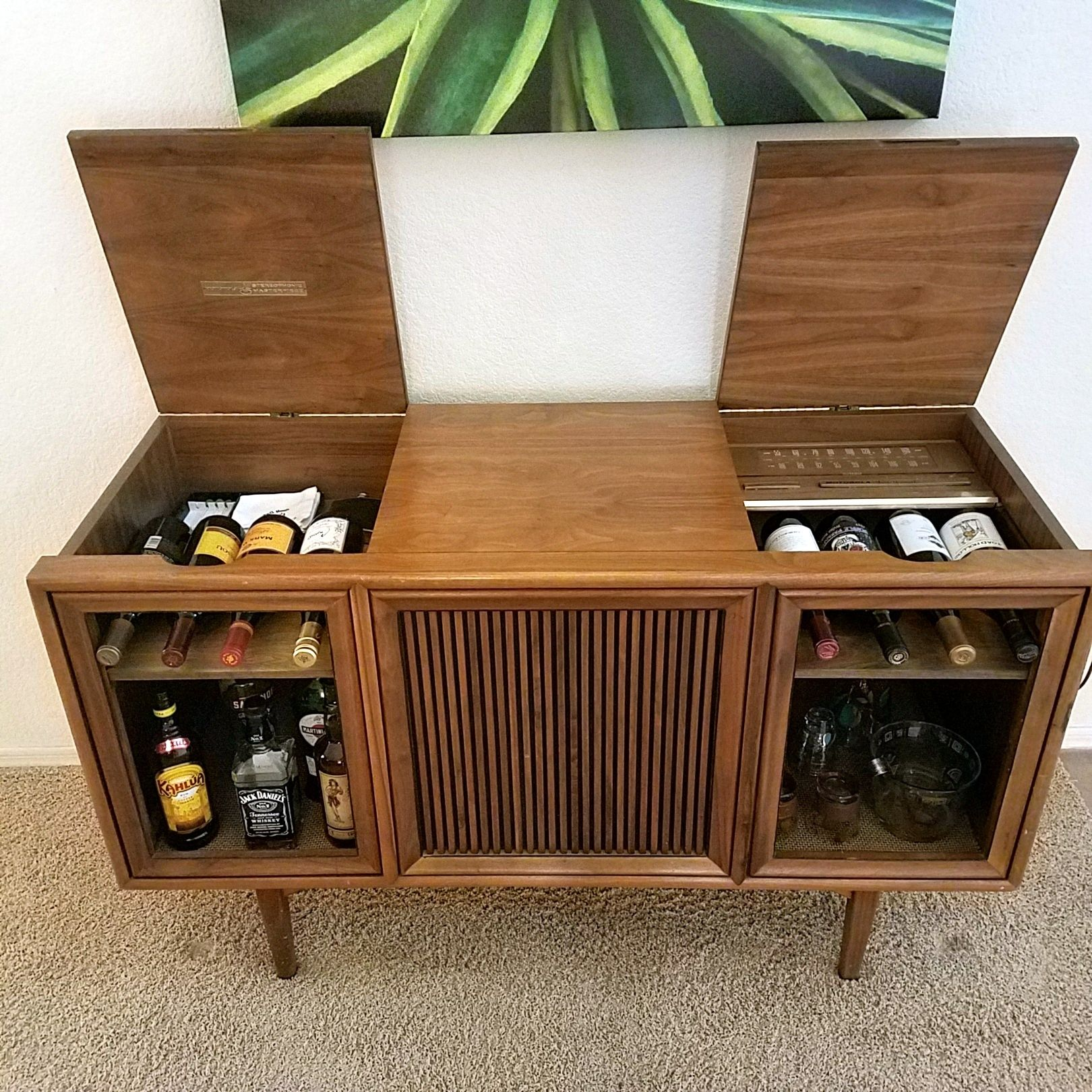 Mid Century Bar Repurposed From A Motorola Console Stereo In A