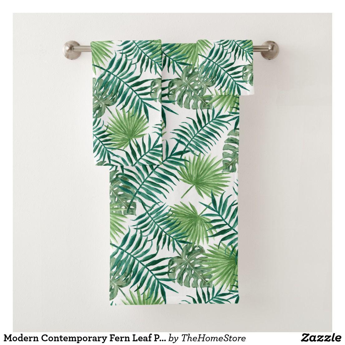 Modern Contemporary Fern Leaf Pattern Bath Towel Set Zazzle Com
