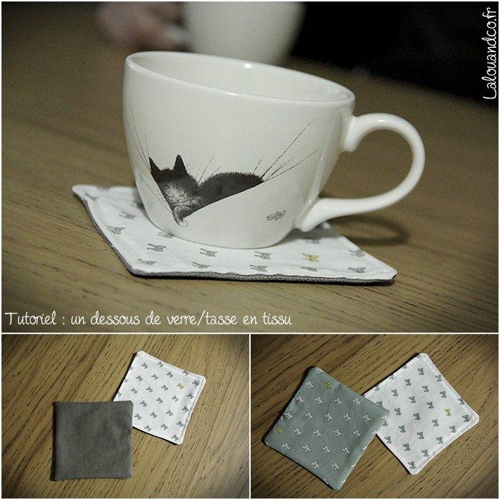 tutoriel des dessous de verre tasse en tissu diy pinterest vignettes. Black Bedroom Furniture Sets. Home Design Ideas