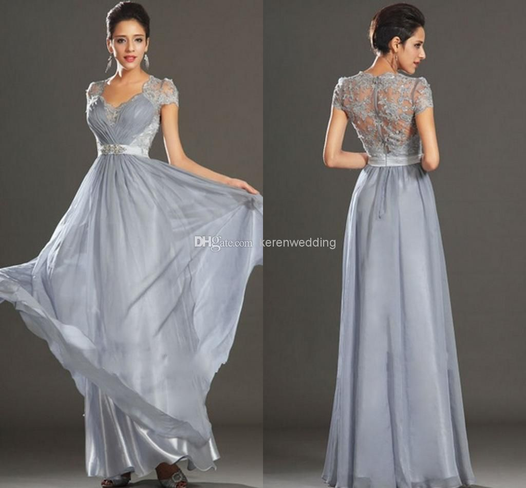 e54511d076a0 ZM-Floor-Length Gowns Elegant A-line Square Short Sleeve Pleat Lace Beads  Sashes Long Chiffon Wedding Party Silver Bridesmaid Dresses 2014