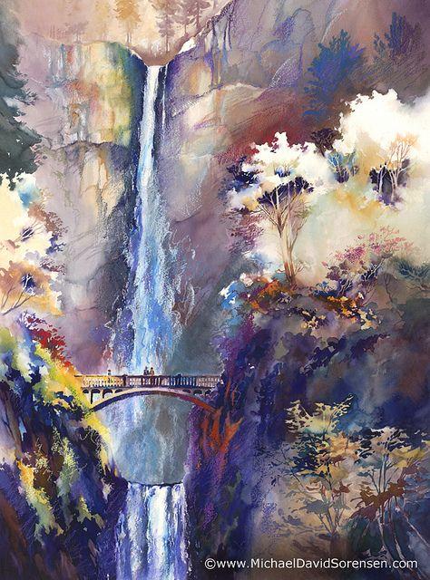 Memories At Multnomah Falls Fall Watercolor Waterfall Art Waterfall Paintings