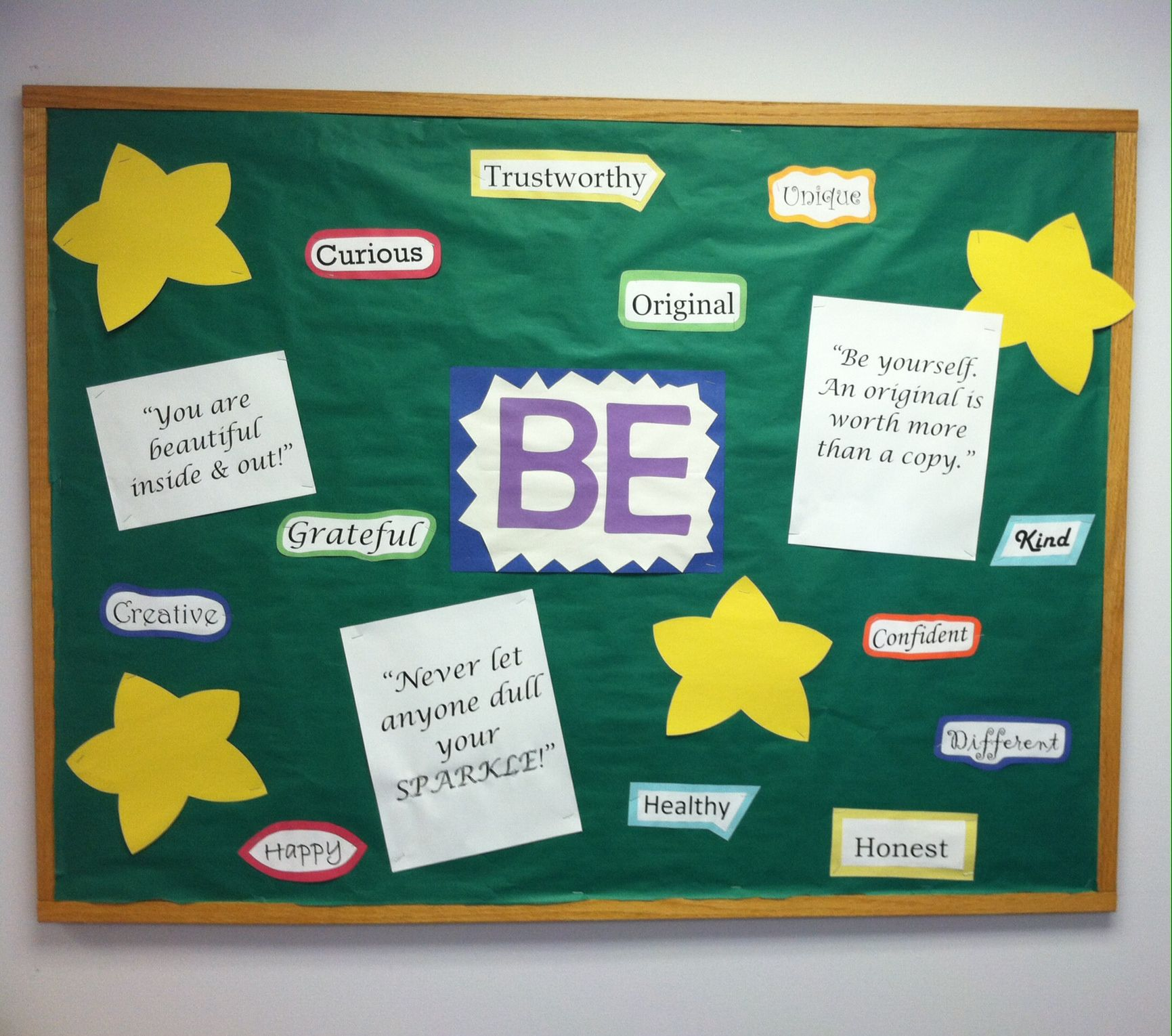 "Super easy ""BE"" bulletin board for school nurse office. A"