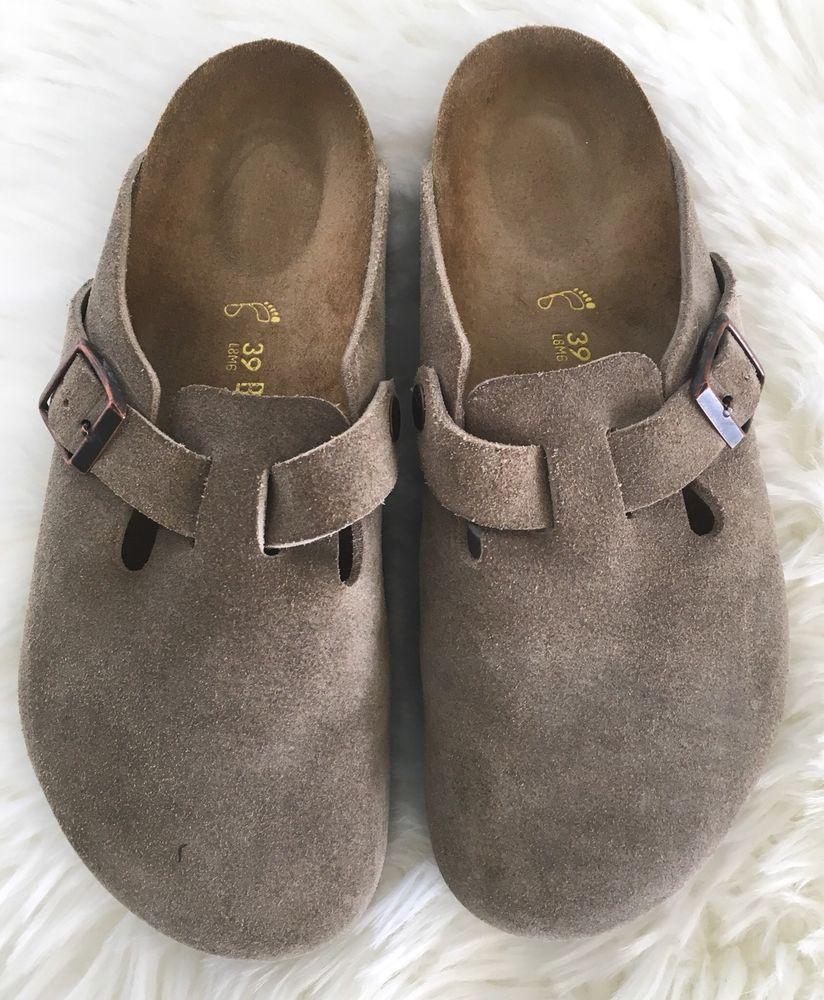 Birkenstock Taupe Gray Suede Boston Clog Slide Sandal Size
