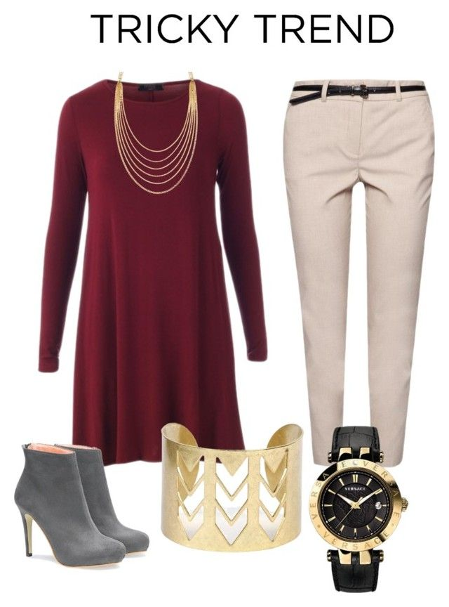 """""""Tricky Trend: Dress and Pants"""" by chinesedragon88 ❤ liked on Polyvore featuring MANGO, White House Black Market, Versace, TrickyTrend, dress, pants and contestentry"""