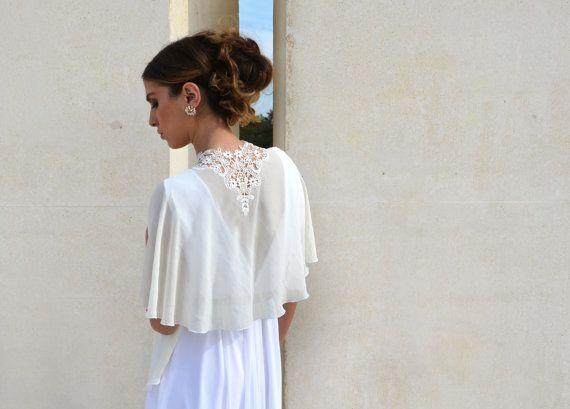 Bridal Chiffon Cape Bride Shawl With Embroidery Lace Shrug