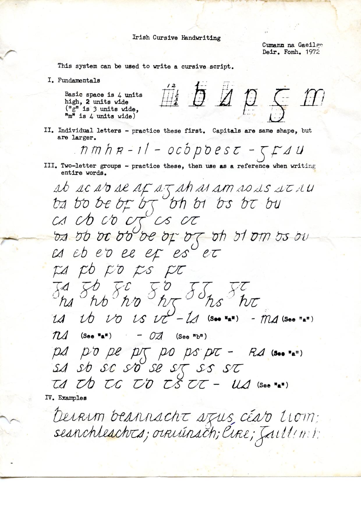 Irish Handwriting