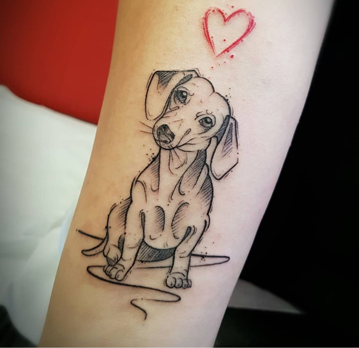 Black And White Version With The Red Heart Dachshund Tattoo Tattoos For Dog Lovers Dog Tattoos