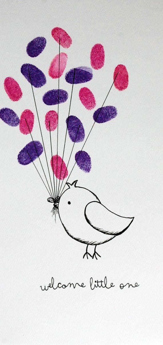 Vogel-Fingerabdruck-Gästebuch von pennyludesign auf Etsy | Muttertag ...