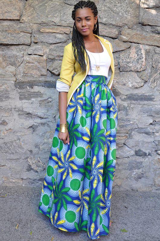 Maxi Skirt Africanprint Ankara Chenburkettny Jpg 530 800 Pixels Idees De Mode Jupe Pagne Mode De Motifs Africains
