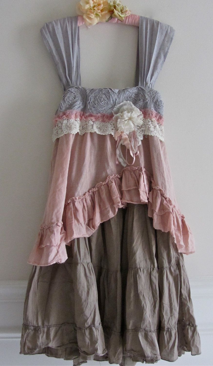 French Sugar Dress Shabby Sweet And Chic Ruffled Ruffle By Izzyroo Looks Like An Old Skirt Made Into A