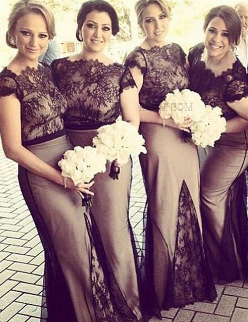 Sheath Scalloped Edge Cap Sleeves Long Black Bridesmaid Dress With Lace Fall Bridesmaid Dresses Black Lace Bridesmaid Dress Maid Of Honour Dresses