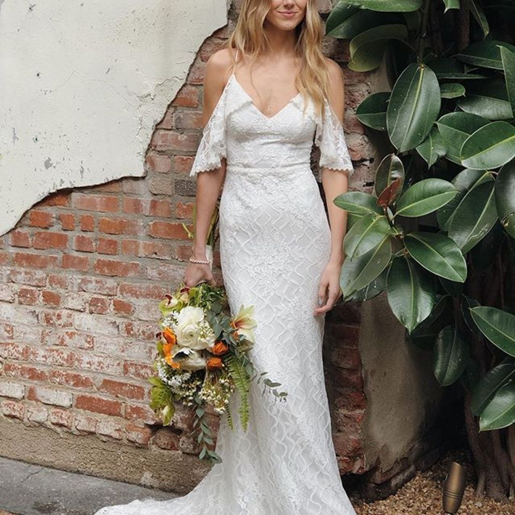 Cold Shoulder Wedding Dress with Ruffled Sleeves David's