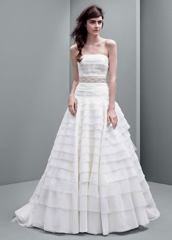 Strapless A-line Drop Waist Organza Gown - David's Bridal ...