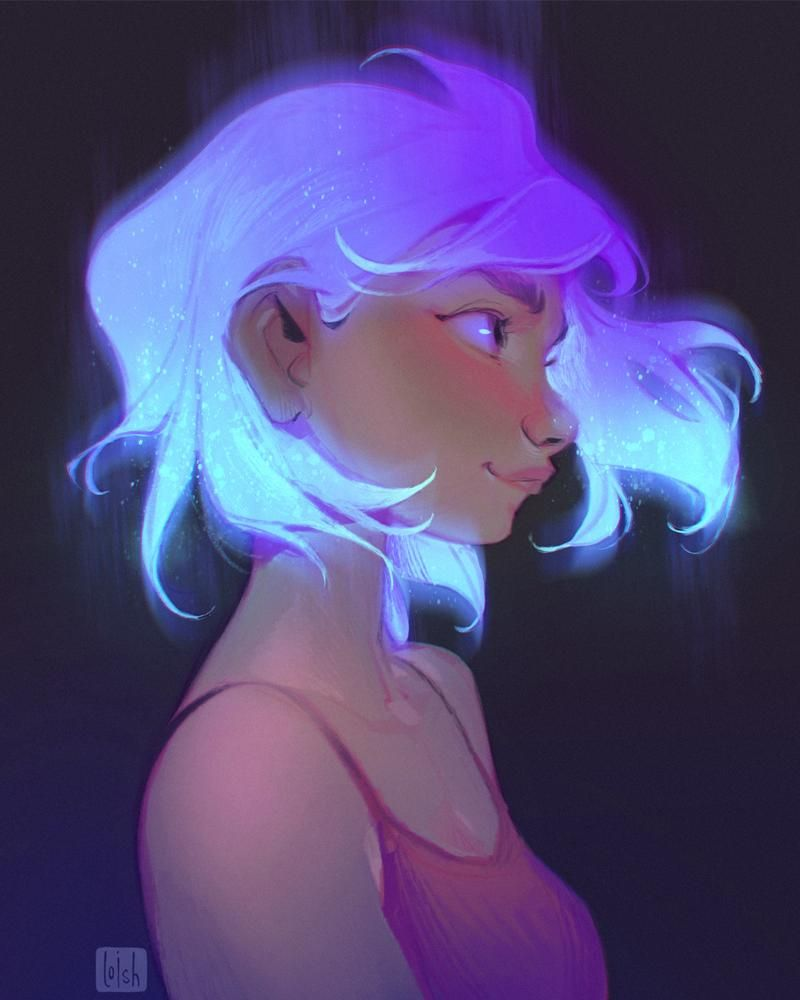 Loish On Twitter Space Hair Loish Portrait Drawing Fantasy Girl