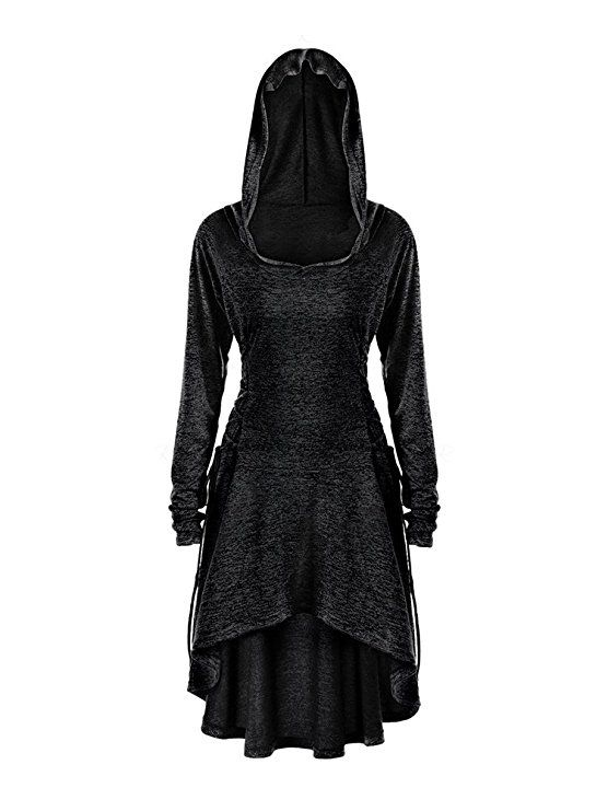3e6e6203db98 Gemijack Womens Long Sleeve Hoodie Dress High Low Lace Up Medieval Midi  Dresses at Amazon Women's Clothing store: