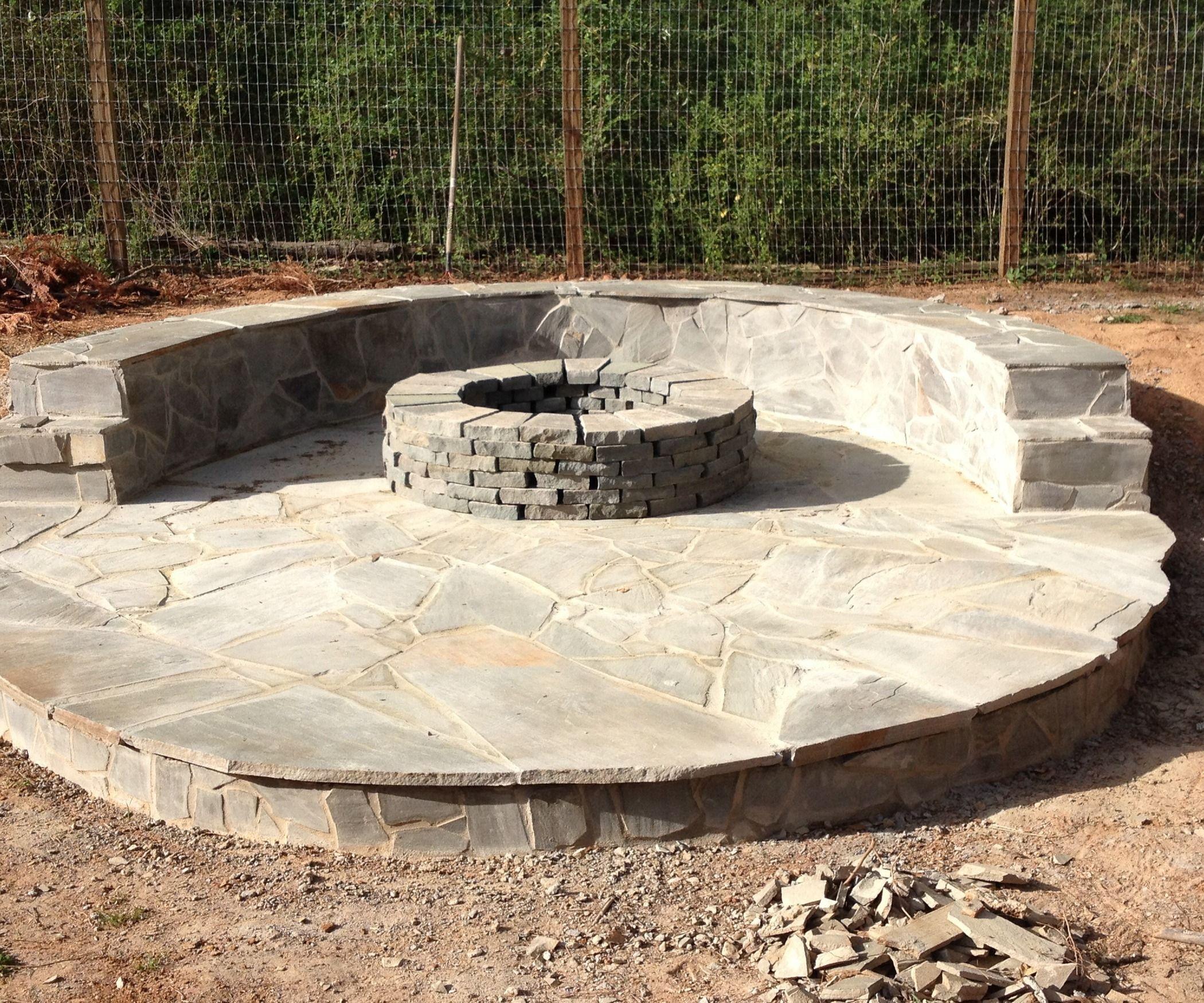 Stone Veneer Fire Pit Patio | Fire pit patio, Fire pit ...