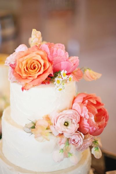 wedding cake ideas orange pink floral cake topper For mm