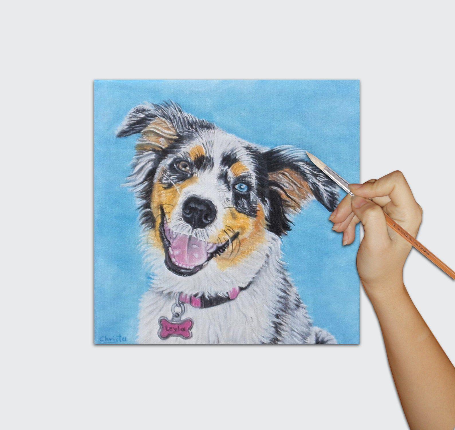 Funny Dog Portrait Custom Oil Painting Custom Portrait Australian Collie Dog Lovers Gift Personali In 2020 Custom Oil Painting Custom Pet Portraits Dog Nursery Art
