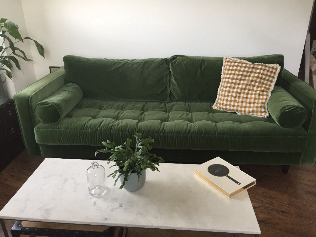 Beautiful Green Velvet Scott From Made 3 Seater Sofa Only Few Months Old Sofa Green Couch Green Sofa