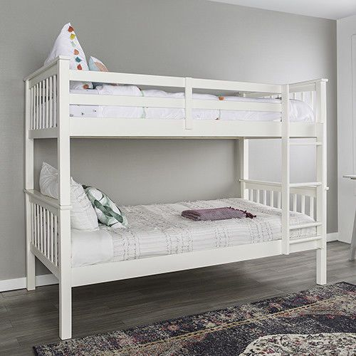 Twin Over Twin Solid Wood Mission Design Bunk Bed White Ebay Link