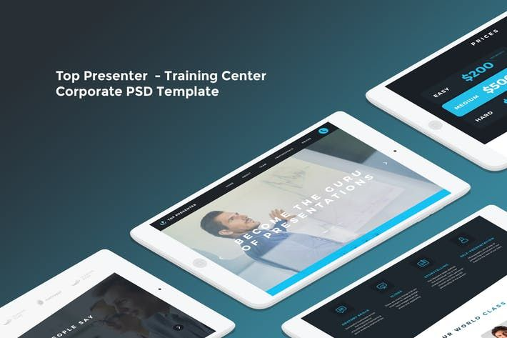 top presenter training center psd template presentation trainings