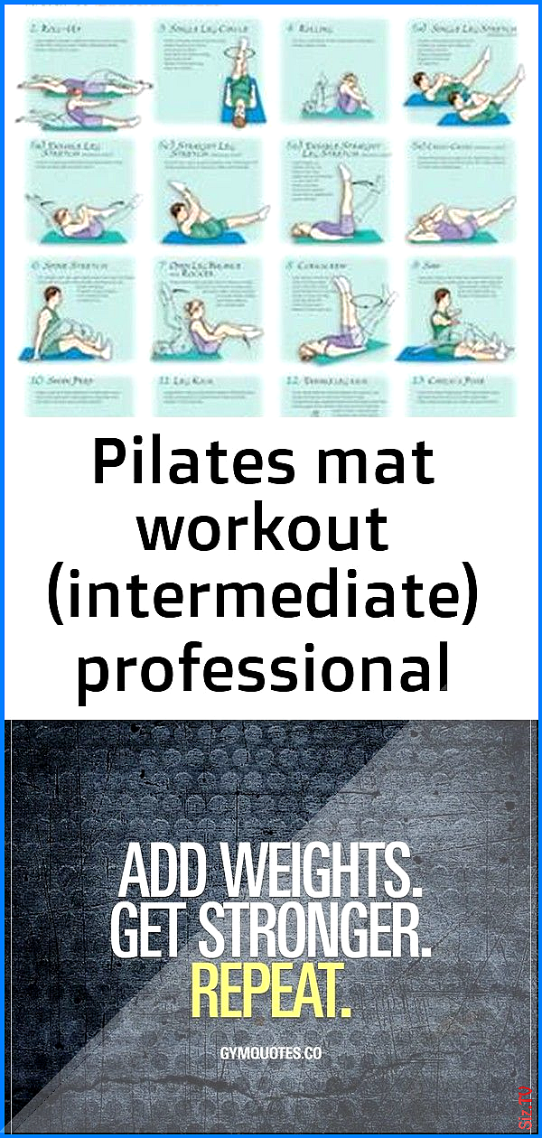 Pilates mat workout intermediate professional fitness wall chart poster  vhi 6 Pilates mat workout i...