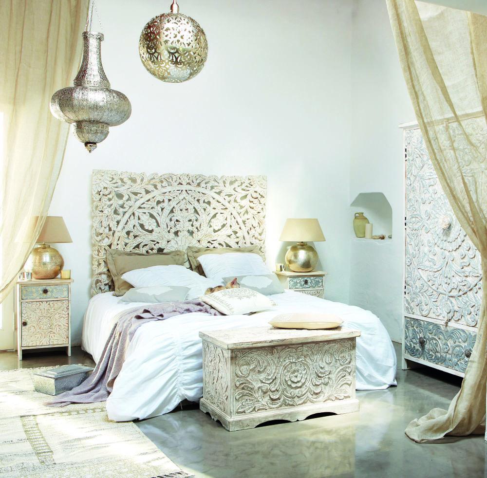 t te de lit 160 sculpt e en manguier massif blanc ma. Black Bedroom Furniture Sets. Home Design Ideas
