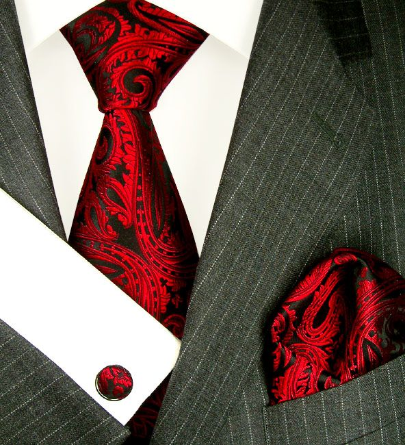 Krawatte aus Seide LORENZO CANA Seidenkrawatten, Seidentücher, Pashmi - 8438405 Set - Krawatte Tuch Manschettenknöpfe Rot Paisley LORENZO CA...