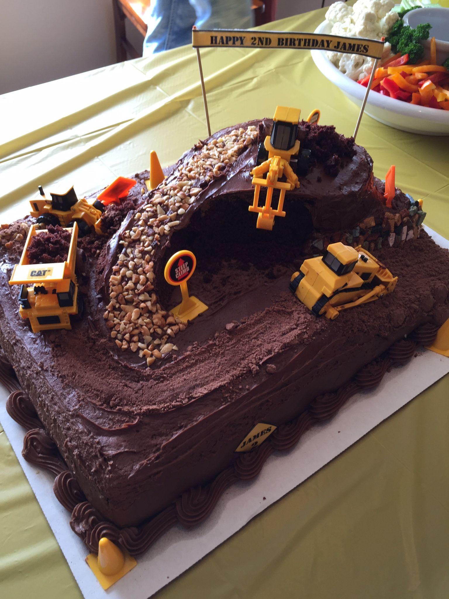 Dump Truck Excavator Birthday Cake