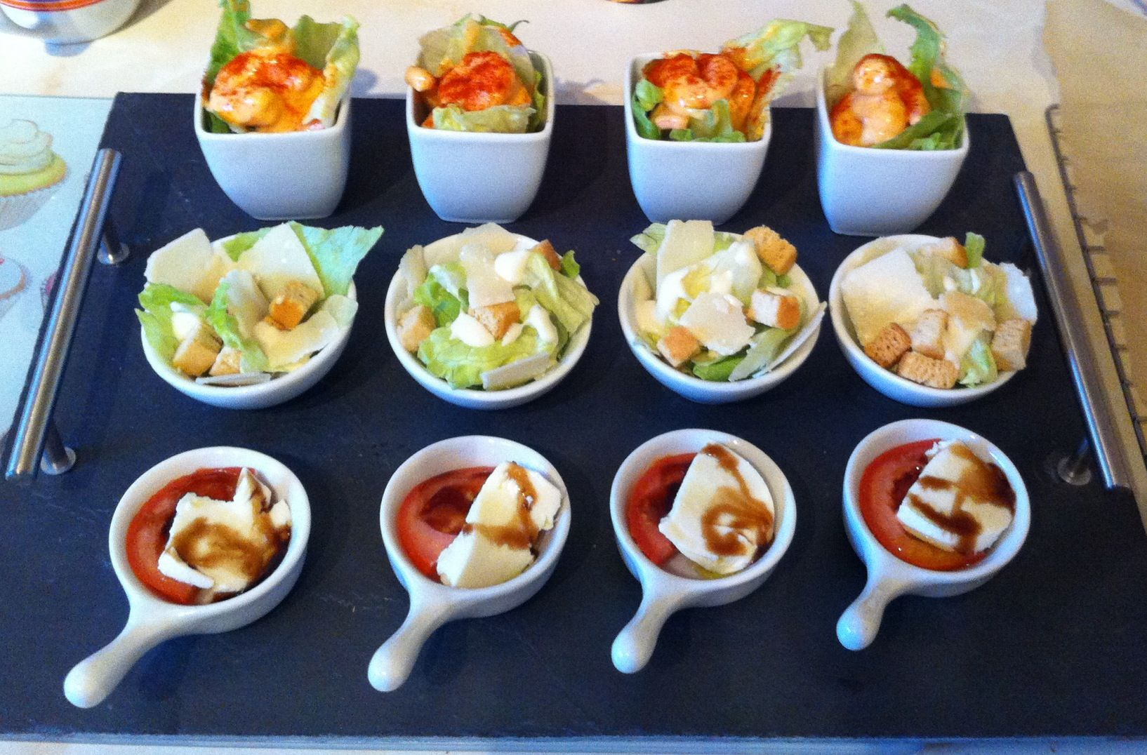Appetisers mini mozzarella and tomato caesar salad and for Mini prawn cocktail canape