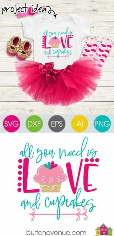 Download All you Need is Love and Cupcakes - Limited Time Free SVG ...